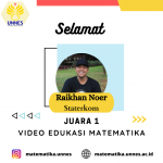 Raikhan Noer Juara 1 Lomba Video Edukasi Matematika