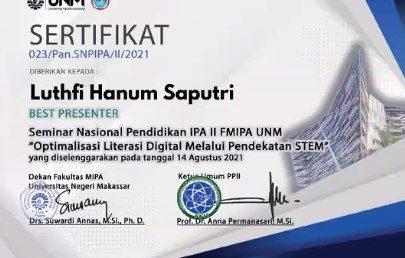 """""""Best Presenter"""" Seminar Nasional Pendidikan IPA II 2021"""